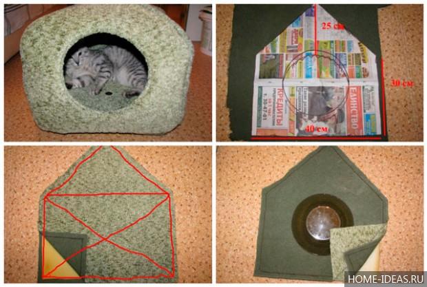Как сделать домик для кошки своими руками с пошаговой инструкцией
