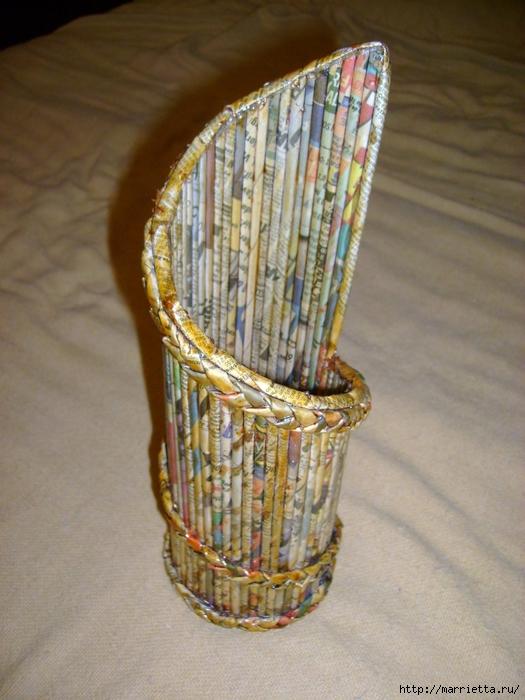 Ваза из газетных трубочек без плетения мастер класс с пошаговым