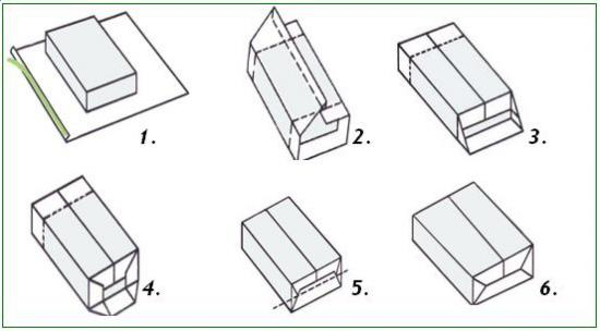 коробку в центр бумаги и с