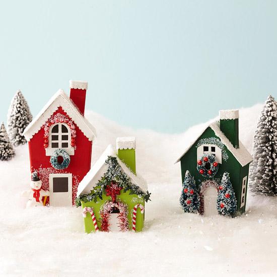 Новогодние поделки своими руками домик из картона