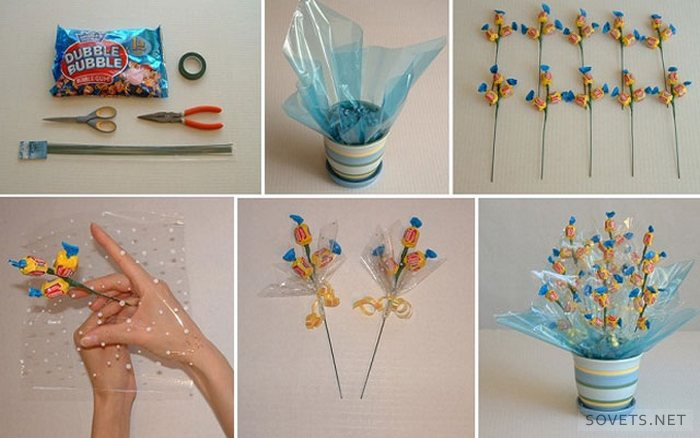 Букеты из конфет с пошаговым фото своими руками