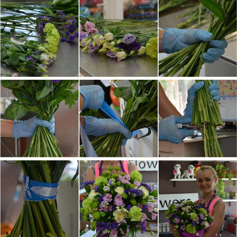 Как сделать букет из живых цветов в корзине своими руками