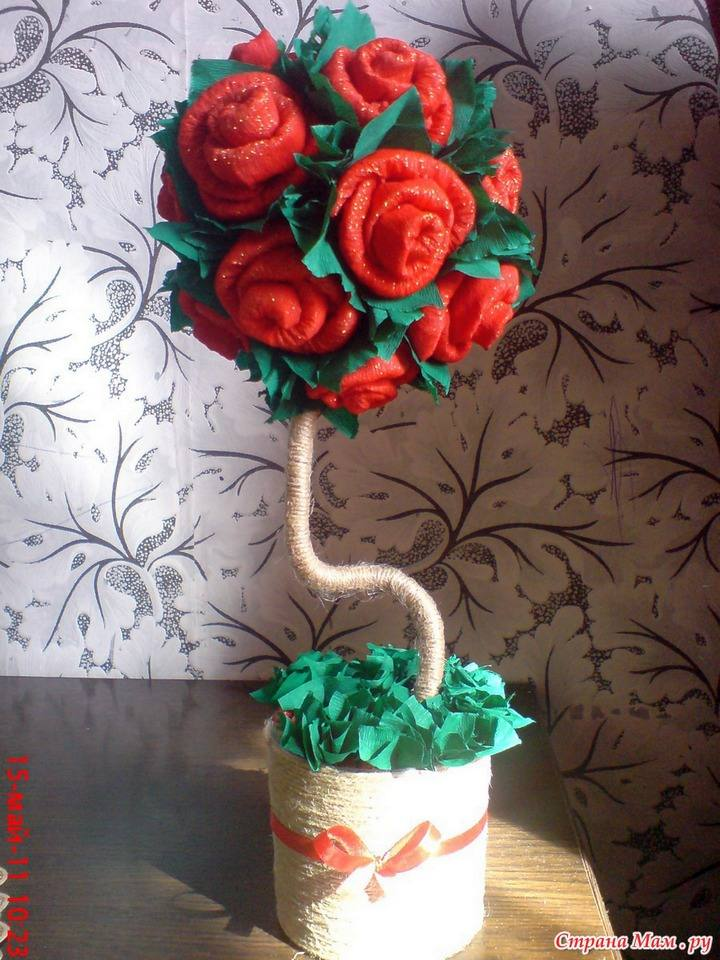 Топиарий своими руками розы из гофрированной бумаги